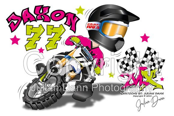motocross caricature